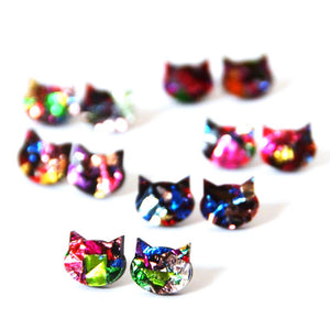 Blossom and Cat - mini galaxy cat stud earrings