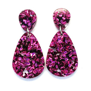 Blossom and Cat - Glitter Raindrop Dangles · Magenta statement earrings