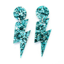 Blossom and Cat - Wam Bam! Teal Lightning Bolt Earrings