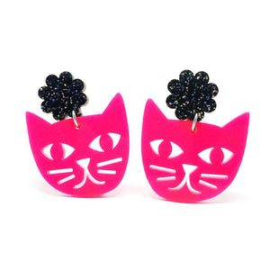 Blossom and Cat - Cat Face statement earrings (hot pink & black)