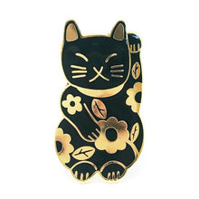 Blossom & Cat - Lucky Cat Pin (choose from Black with Gold Plating or Pink with Black Plating)