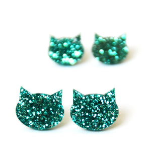 Blossom and Cat - Turquoise Glitter Cat mini stud