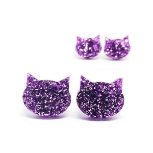 Blossom and Cat - Lilac Glitter Cat mini stud