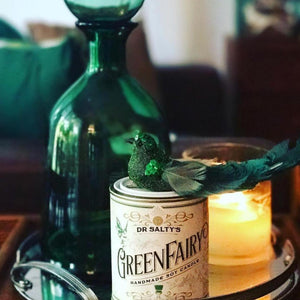 Anvil Creek Co 'Dr Salty's Green Fairy' hand poured soy wax candle.