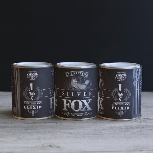 Anvil Creek Co 'Dr Salty's Silver Fox' hand poured soy wax candle.