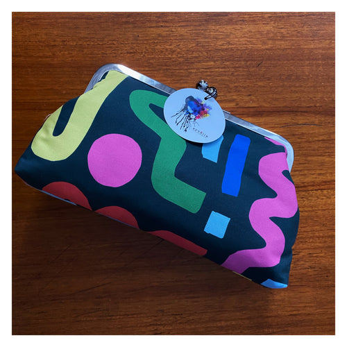 Bold abstract - Large clutch purse with kisslock clasp and metal frame by Sybella