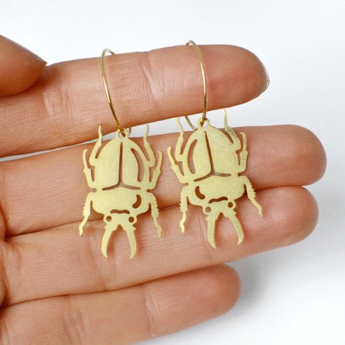 Pixie Nut & Co - Brass Beetle Hoop Earrings