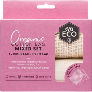 EVER ECO Reusable Produce Bags Organic Cotton Mixed Set (2 Muslin Bags & 2 Net Bags)