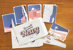 """Newcastle - it's pronounced Newy!""© set of 5 mini art prints/postcards by Anorak®"