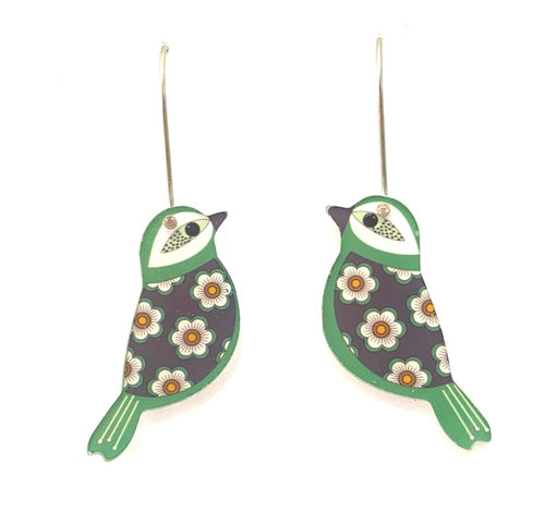 Smyle Designs - Green retro bird Earrings