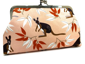 Kangaroos Large clutch purse with kisslock clasp and metal frame by Sybella