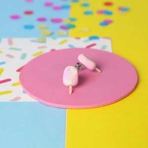 Saturday Lollipop - Food earrings - Rainbow Paddle Pop Studs