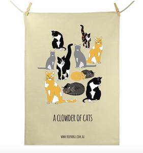 Red Parka (Jen Cossins) - Clowder of Cats Tea Towel