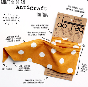 AntiCraft - Wired Head Scarf (or 'do rag) LEOPARD ANIMAL PRINT Gold & Brown