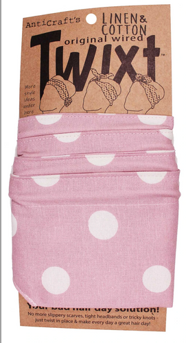 Anticraft Wired Head Scarf TWIXT BLUSH SPOTS ON LINEN / COTTON