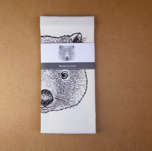 Stalley Wombat face tea towel
