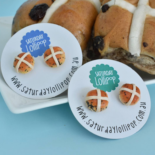 Saturday Lollipop - Food earrings - Hot Cross Bun studs