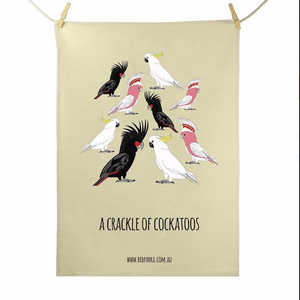 Red Parka (Jen Cossins) - A Crackle of Cockatoos Teatowel