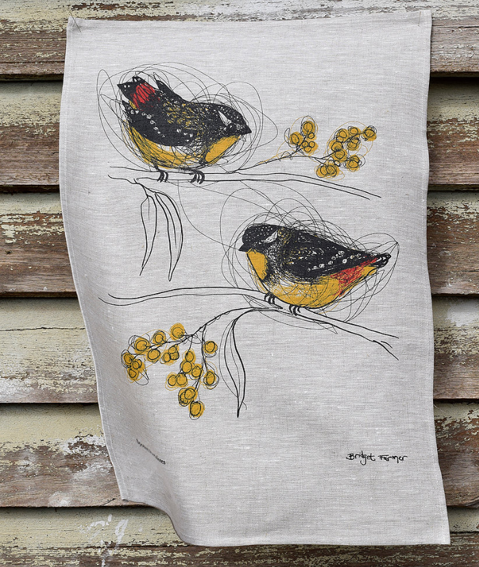 Bridget Farmer - Tea Towel, Spotted Pardalotes