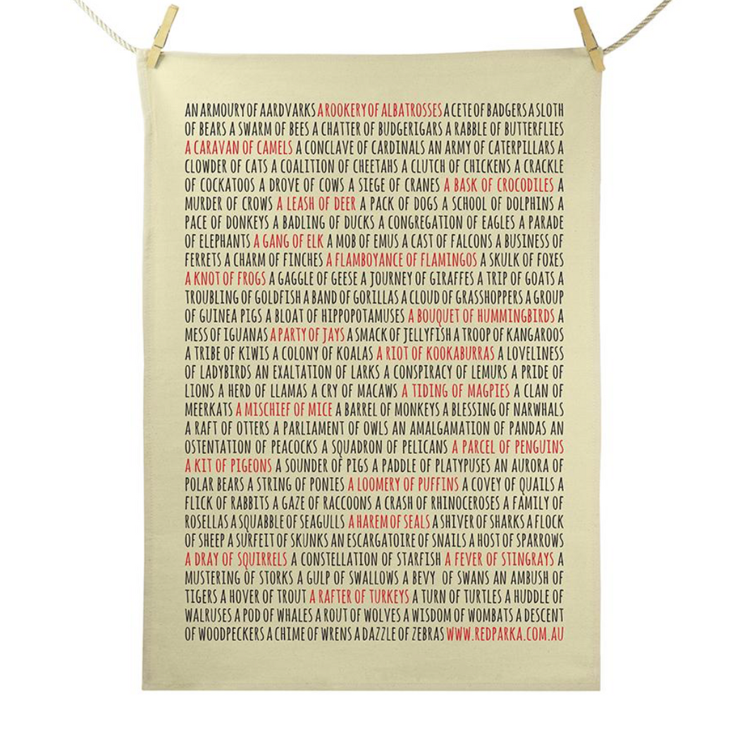 Red Parka (Jen Cossins) - Collective Nouns tea towel