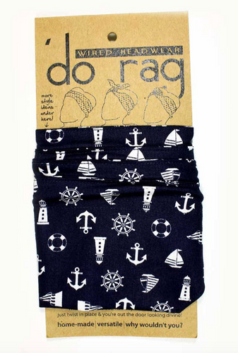AntiCraft - Wired Head Scarf (or 'do rag) NAUTICAL NAVY SAILOR