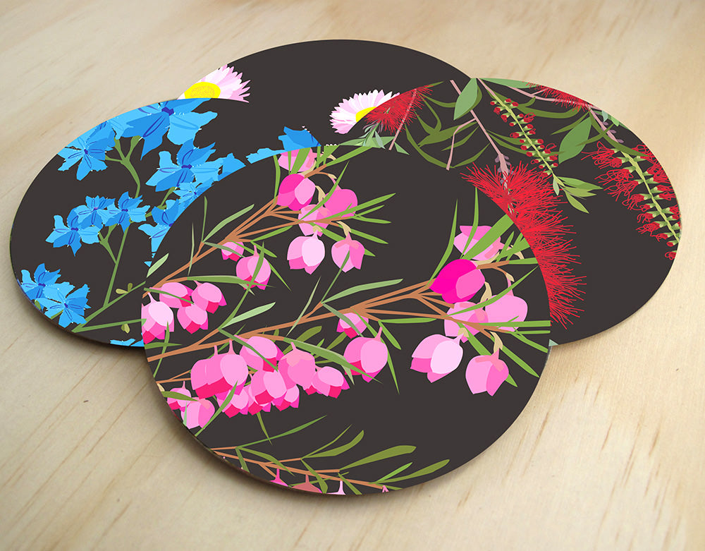 Mokoh Design - Midnight Bloom Coasters