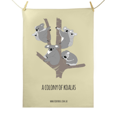 Red Parka (Jen Cossins) - Colony of Koalas Tea Towel