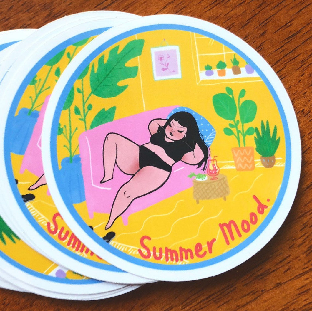 Mel Stringer - Summer Mood - 3.5 inch vinyl sticker