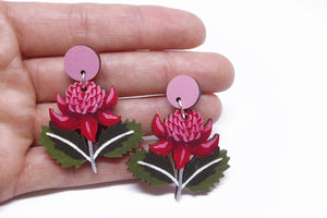 PIxie Nut and Co - Australian Waratah wooden earrings