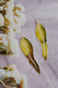 Pixie Nut & Co - Brass Gum Leaf Earrings
