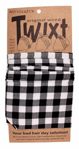 Anticraft Wired Head Scarf GINGHAM BLACK & WHITE TWIXT