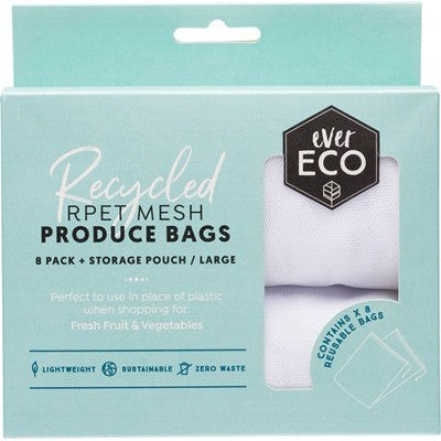 EVER ECO Reusable Produce Bags  Recycled Polyester Mesh 8 pack