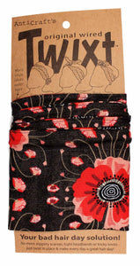 Anticraft Wired Head Scarf POPPY ON GREY TWIXT