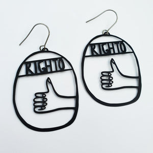 "DENZ ""Righto"" statement earrings  - in black"