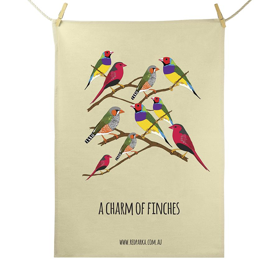 Red Parka (Jen Cossins) - Charm of Finches Tea Towel