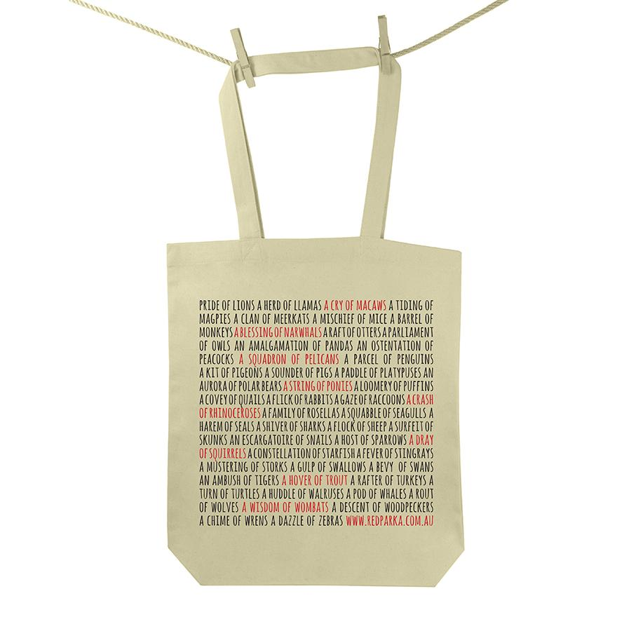 Red Parka (Jen Cossins) - Collective Nouns tote bag