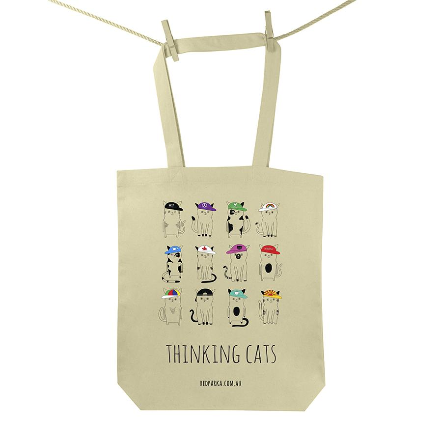 Red Parka (Jen Cossins) - Thinking cats tote bag