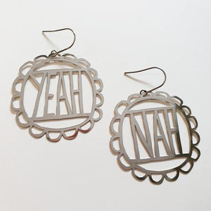 "DENZ ""yeah nah"" statement earrings  - choose your colour!"