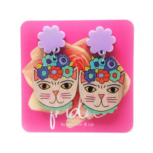 Blossom and Cat - Frida Catlo Flower Dangle · Light Purple -  statement earrings
