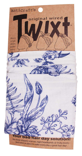 AntiCraft - Wired Head Scarf BLUE & WHITE TOILE FLORAL