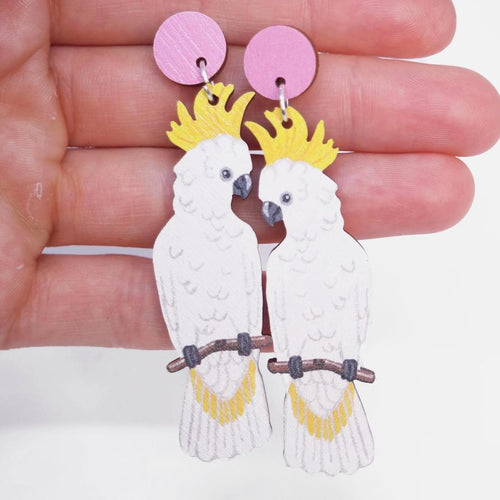 PIxie Nut & Co - White cockatoo earrings