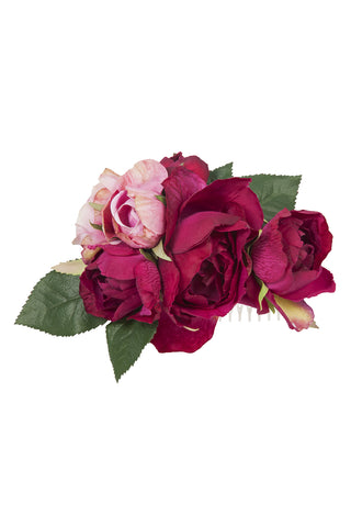 Dark Red Rose Trio Comb