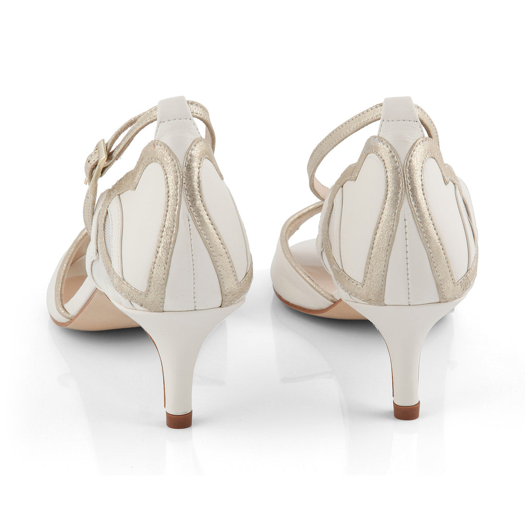 Bridal shoe with low heel