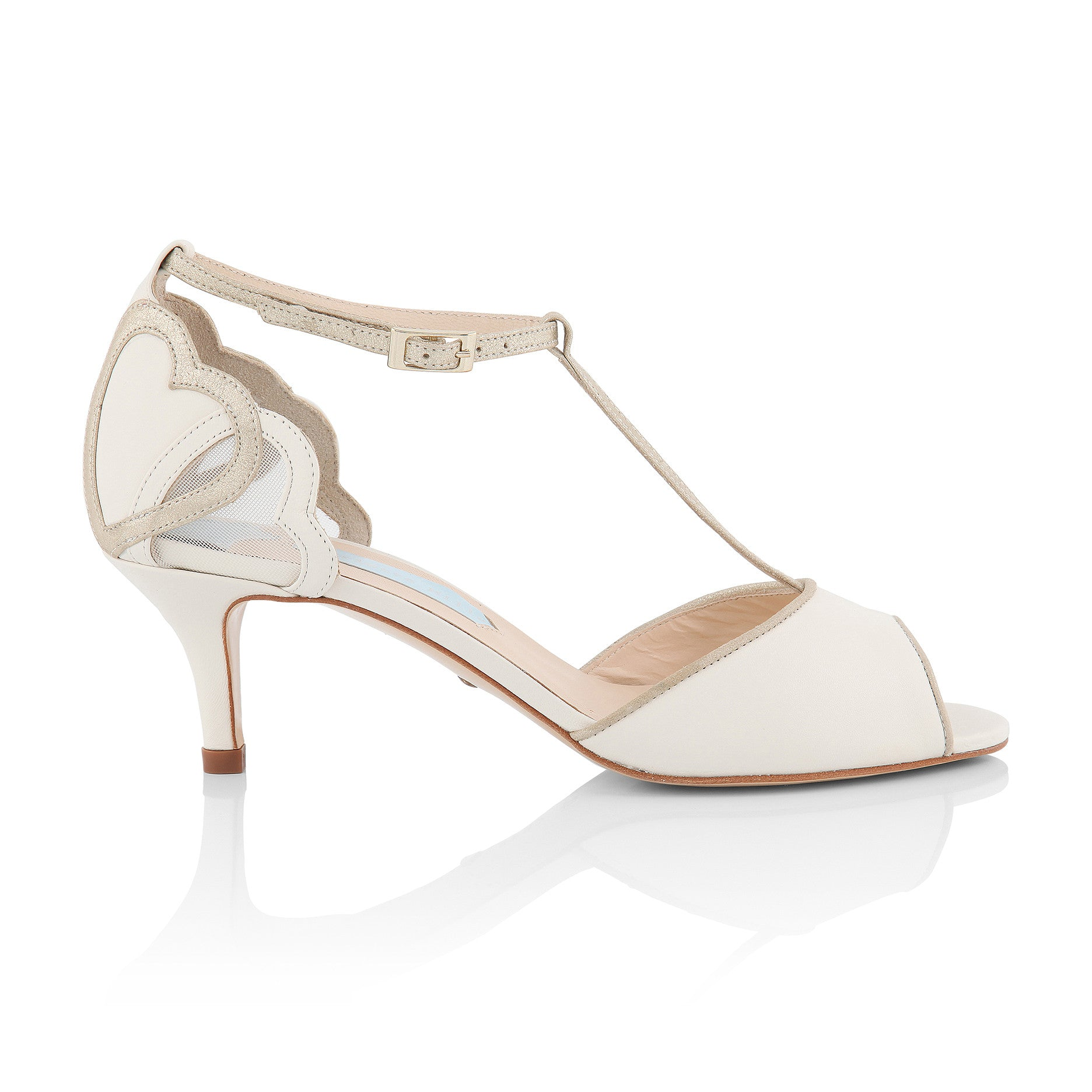 Low heel bridal shoe with T bar