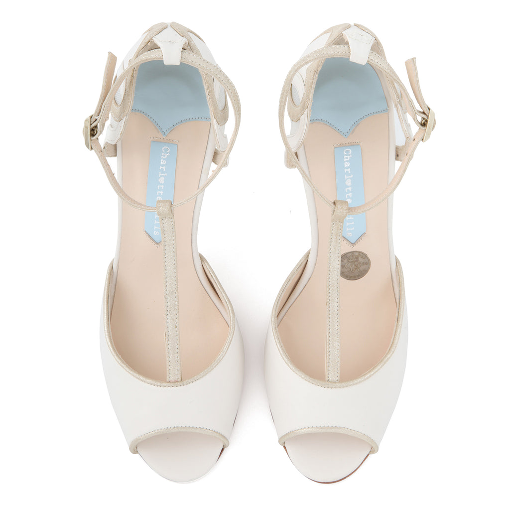 Wedding shoe with peep toe and T-bar