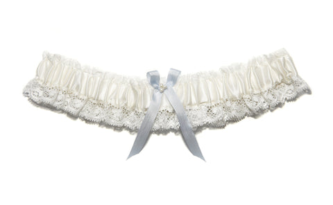 Aurelie Ivory and Blue Bow Garter