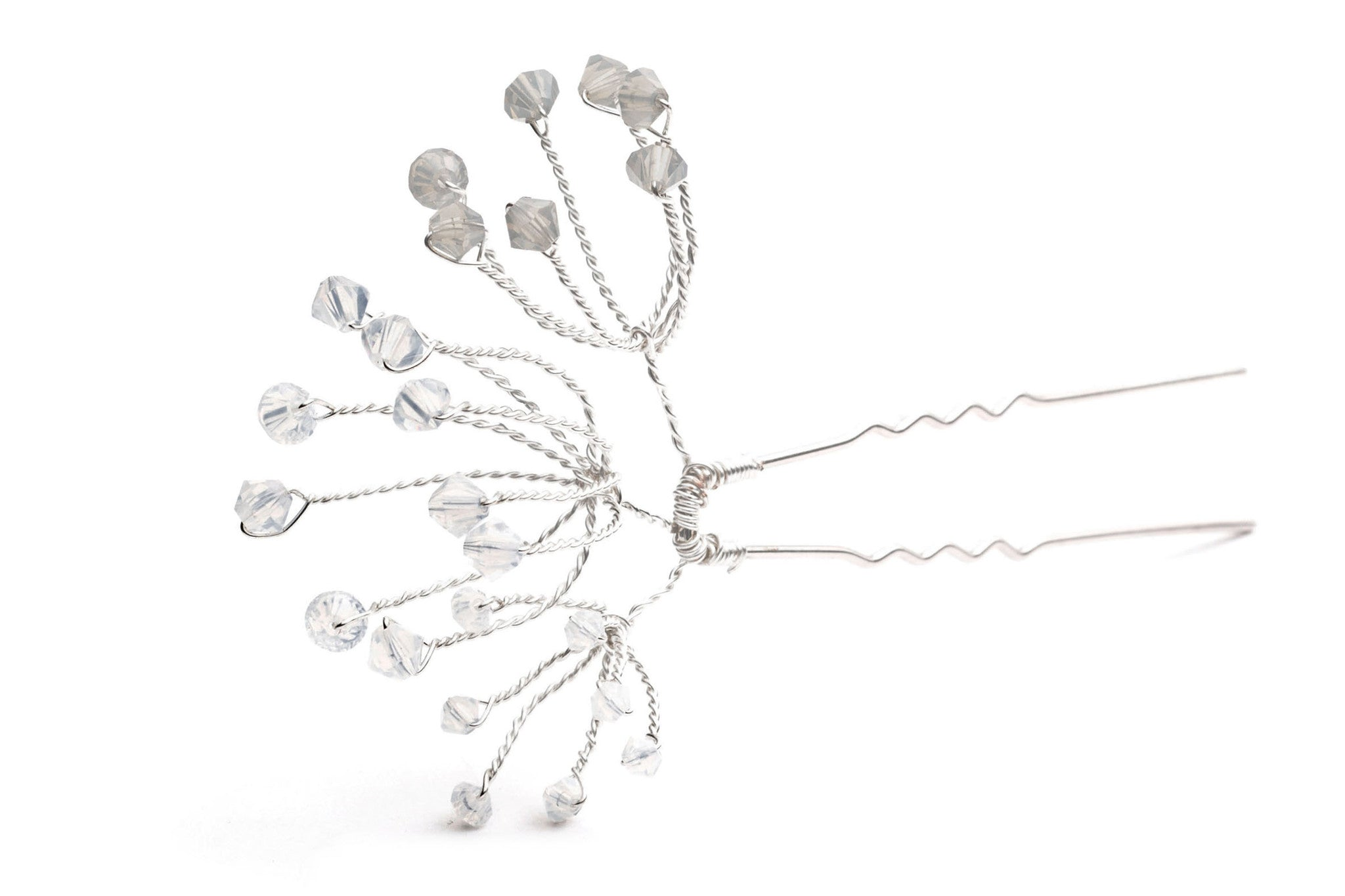 Cow Parsley Grey and White Opal Swarovski Hairpins