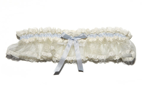 Elphie Cream with Blue Bow Garter