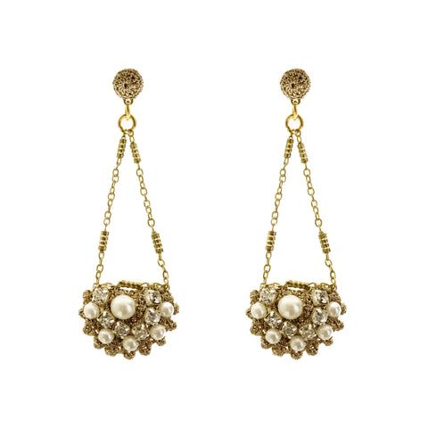 Crocheted chain pearl and cluster earrings
