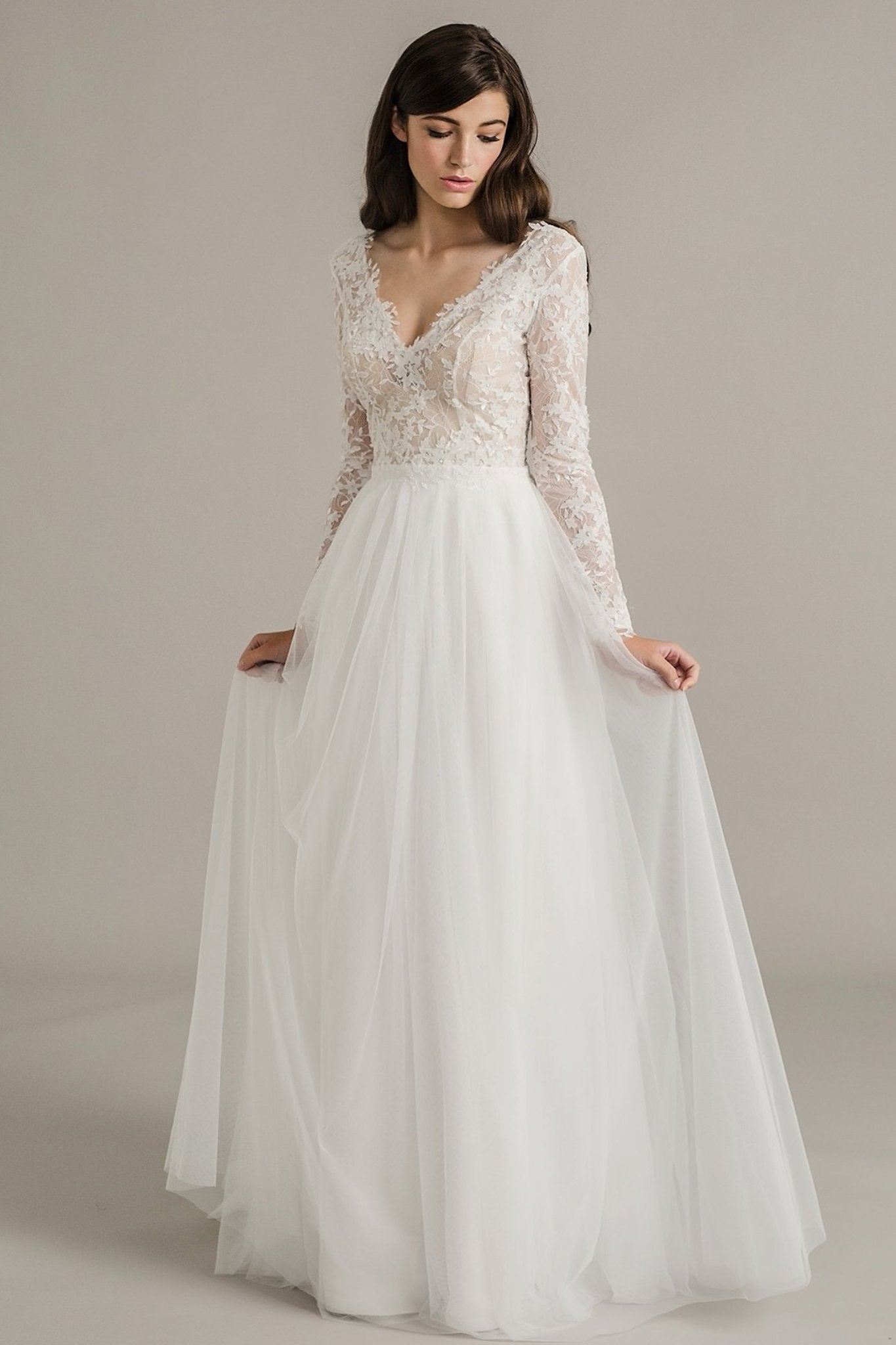 Genevieve luella s bridal wedding boutique for Long straight wedding dresses